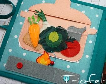 Quiet book, Soft book, busy book, felt book, activity book, felt vegetable garden, felt veggies