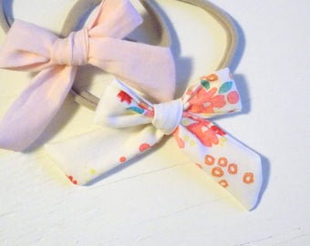 Baby Headband Set - Cotton Classic Headbands in Blush & Poppy - Baby Headbands, Baby Bows, Baby Hair Clips, Bow Clips, Newborn photo props