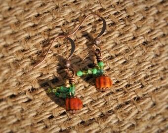 Glass Pumpkin Earrings
