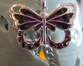 Large Beautiful Swarovski Crystal Butterfly Necklace