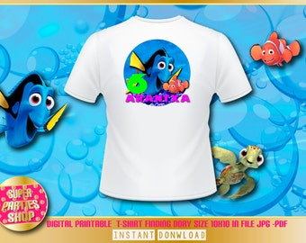 Finding dory  Digital  Printable t-shirt , Custom Party,Finding dory  ,Birthday,Party, Supply, Kit, Pack, Custom