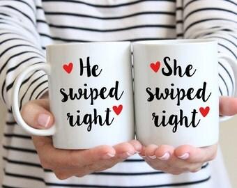 Tinder Mug Set | Tinder Gift | He Swiped Right She Swiped Right | Boyfriend Gift | Girlfriend Gift | Swiped Right Gift | Anniversary Gift