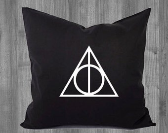Deathly Hallows Pillow Cover,  Pillow Case 16x16 or 18x18