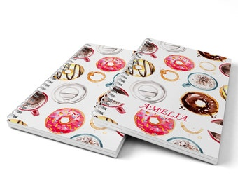 Coffee and Donuts Notebook.  Hard Cover Spiral Notebook. Notepad. Journal.
