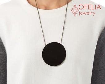 Necklace pendant round, jewelry black, necklace black, necklace long, Pendant black, girlfriend gift, she unique, minimalistic