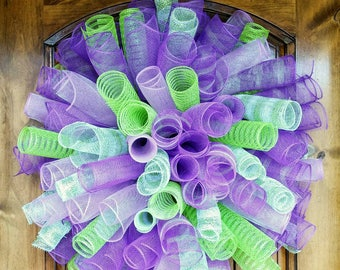 Purple and Green Spiral Wreath, Curly Wreath, Deco Mesh Wreath, Summer Wreath, Spring Wreath, Purple Wall Decor, Kids Bedroom Wall Decor