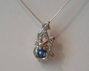 Sterling Silver Mermaid Pendant Cage Necklace for Pearl