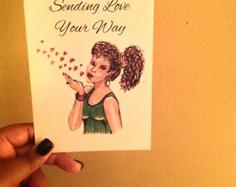 Sending love your way card. Blowing kisses. Hand Drawn.