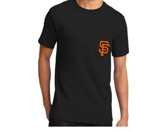 SF Giants Mens Baseball Pocket T-Shirt// Mens Black Giants Shirt