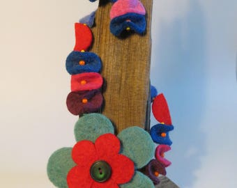 Felt Flower Necklace and Earrings