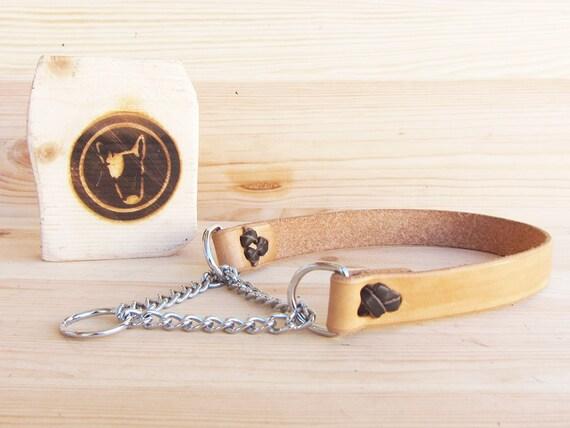 Martingale Dog Collar, Tan Leather Dog Collar, Chain Dog Collar, Handmade Dog collar, Half Choke Dog Collar, Durable Dog Collar, YupCollars