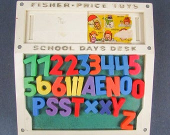 Fisher Price School Days Desk with letters and numbers, 1977