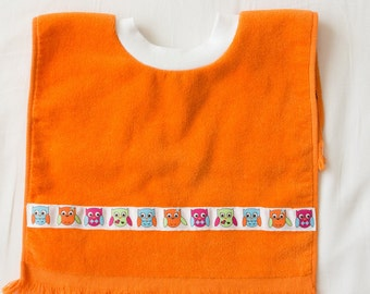 Personalized, Owls Baby or Toddler Towel Bib, Handmade Gender Neutral Baby Shower Gift, Pullover Full Coverage Bib, Toddler Art Smock