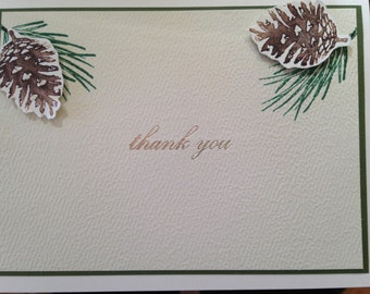 Set of 4 handmade thank you cards with pine sprigs and pine cones