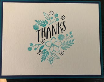 Letterpress floral thank you in navy and teal