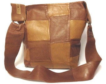 Tan Leather Patchwork Messenger Bag/ Brown Tan leather Shoulder Bag/ Tan Brown patchwork handbag /One of a kind/ Statement Bag/ gift for her