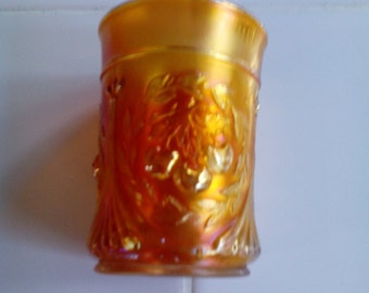 Carnival Glass Tumbler - Wreathed Cherry