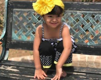 Yellow Ruffle Messy Bow Headband
