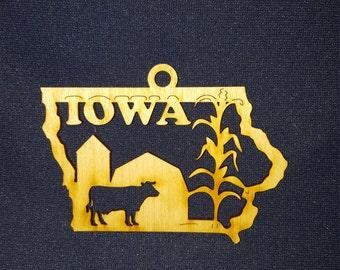 Iowa state ornament laser cut wood