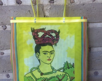 Yellow Frida Kahlo Plastic Bag /  Mexican Market Bag / Mexican Plastic Market Bag / Mexican Shopping Bag with Long Handles