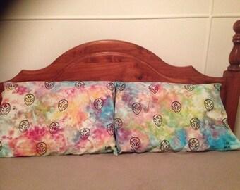 alien head , hand stamped , tie dye , hemp pillowcases
