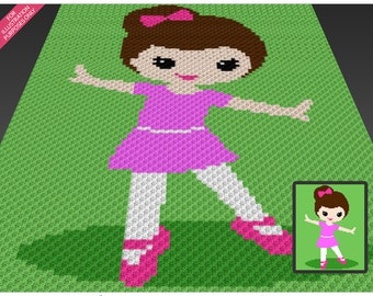 Little Ballerina crochet blanket pattern; c2c, cross stitch; knitting; graph; pdf download; no written counts or row-by-row instructions