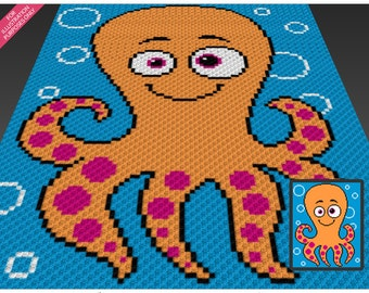 Funny Octopus crochet blanket pattern; c2c, cross stitch; knitting; graph; pdf download; no written counts or row-by-row instructions