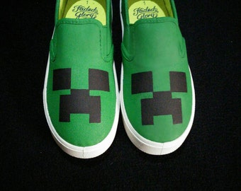 Minecraft Creeper inspired hand painted shoes