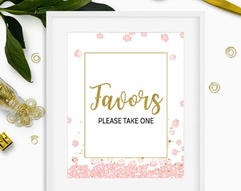 Bridal Shower Favor Sign-Pink and Gold Glitter Favor Table Sign-Floral Treat Favor Sign-Floral Bridal Favors Instant Download Printable Sign