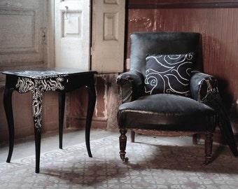 Black bedside table/sewing kit. Design only