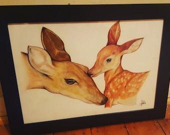 Deer drawing - Framed A3