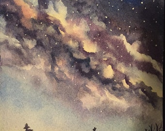 Original watercolor night sky forest painting