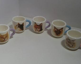 Set of 5 miniature ceramic mugs/toothpick holders with various cat designs 3cm x 3cm x 4cm