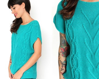 Bright Teal Green Cable Knit Sweater S/M