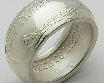 Don't Tread On Me Coin Ring from 1oz Fine Silver