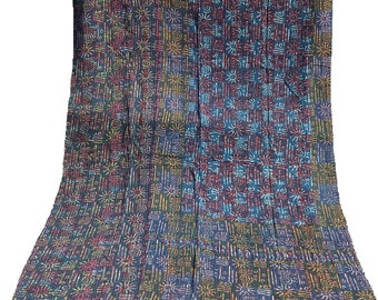 Indigo Kantha Quilt , Vintage Kantha Quilt , Blue Print Fabric ,Twin Size Hand Made Bed Cover