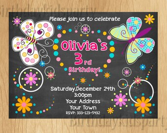 Children's Party invitation, Butterflies and flowers Birthday Invite, PERSONALIZED, Digital File