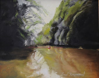 River landscape, original acrylic painting - Saturday