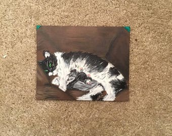 Cat and her kittens painting