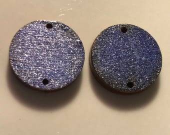 Hand Stained Laser Cut Wood Charms Navy Blue 3/4 inch in diameter with 1mm holes and 1/8 thick.  Glazed with gloss poly - G32