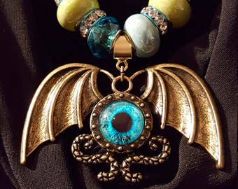 GOLD WINGED PENDANT Necklace - Blue & Green Beaded