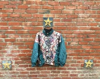 SALE! Shape Up jacket  / 90s windbreaker Fresh Prince 80s 90s Tribal Print Silk Windbreaker Green Medium Large