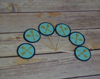 Wild ONE Birthday Tribal Cupcake toppers Arrow Teepee Cupcake toppers Feather Centerpiece Happy First Birthday Centerpiece boho aztec