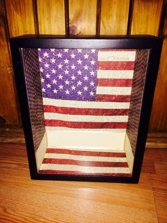 "Shadow box American flag 11x14 5"" deep memory honor respect display"