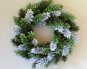 Green Pine Cone Wreath, Green and White Wreath,  Saint Patrick's Day Wreath, Spring Wreath, Girl's RoomWreath