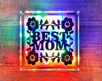 Personalized Gift, Best Mom Ever, Gift For Mom, Unique Decor, Personalized Mothers Day Gift, Flower Decor, Keepsake, Lighted Glass Block