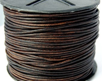 6 YARDS Natural Dye Antique Brown 2.0mm Round Leather Cord