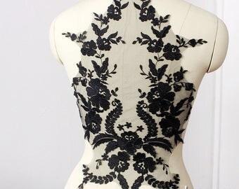 Lace Applique Pair/Wedding Dress Applique/Bridal Applique/Wedding Applique/Black Applique/Luxury Applique/Gown Back Pattern by piece,ALA-07