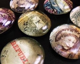 Set of 7 Vintage World Stamp Magnet/Pins