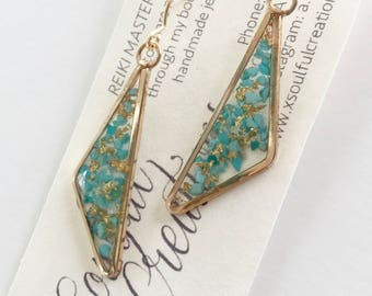 Triangle Turquoise and Gold Leaf Earrings